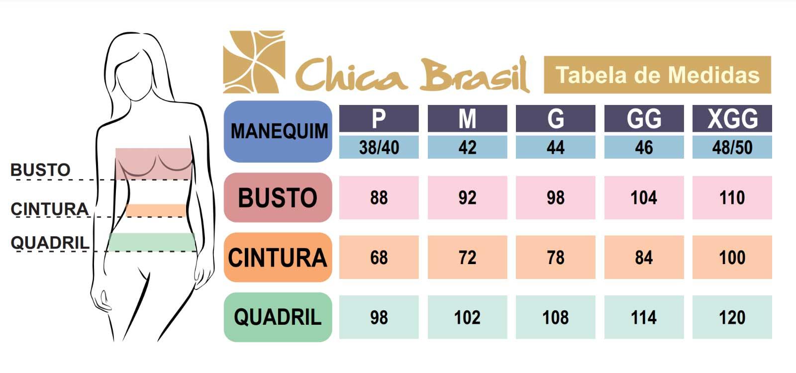 Tabela de Medidas Chica Brasil